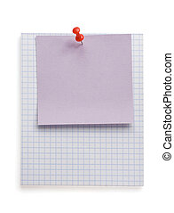pushpin and note paper on white