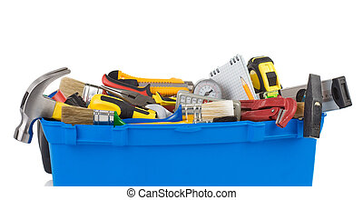 set of tools and instruments in toolbox isolated on white...