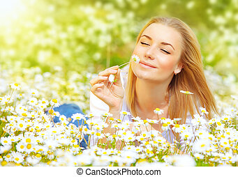 Woman in chamomile field - Photo of pretty blonde woman...