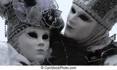 venetian mask 45 - Person in Venetian costume attends the...