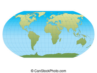 New Robinson - Map of the world in Robinson projection with...