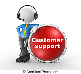 Customer support - 3d people - man, person with headphones...