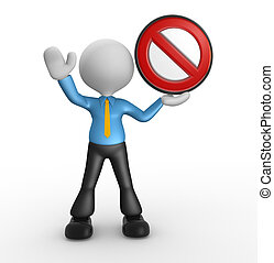 Businessman - 3d people - man, person with a stop sign.