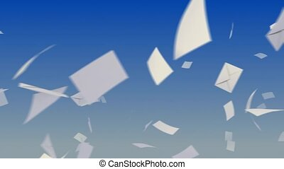 Flying envelopes on sky. - Flying envelopes on sky...