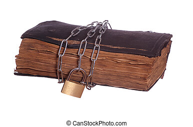 old prayer book with padlock and chain
