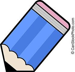 blå, blyertspenna, ikon