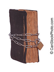 old historic prayer book protected with padlock and chain