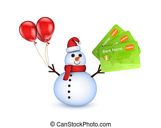 Snowman with a credic cards.Isolated on white.3d rendered.