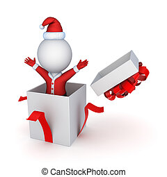 Santa in a giftboxIsolated on white3d rendered