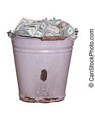 dollars in old rusty bucket