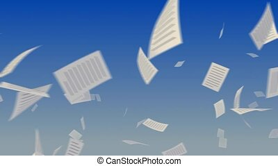 Flying papers on sky. - Flying papers on sky background....