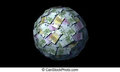 Money Ball, Euro bills. - Spinning globe made of Euro notes....