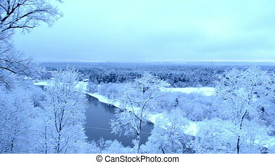 panorama river snow trees - panorama view of neris river...