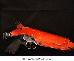 Magnum - 357 magnum in shoulder holster with black...