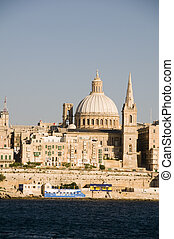 valletta malta grand harbor - waterfront view historic...