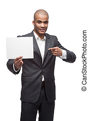 black businessman - young cheerful black businessman holding...