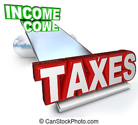Income Taxes Scale Balance Figuring Refund Deductions - The...