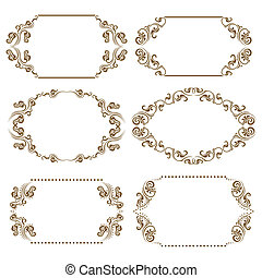Set of ornate vector frames - Set of ornate floral vector...