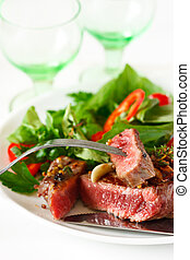 Grilled beef steak and salad. - Grilled beef steak with...