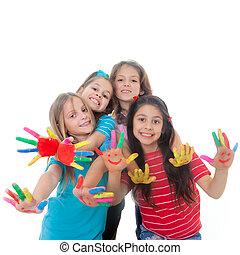 gyerekek, festék, Móka