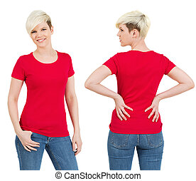 Cute female with blank red shirt