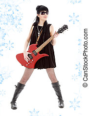 rock lady - girl with red electric guitar and snowflakes