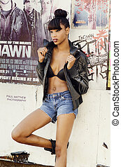 Beautiful African American model posing fashion style