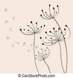 Vector dandelion - The vector dandelion on a wind loses the...