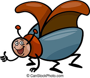 beetle insect cartoon illustration - Cartoon Illustration of...