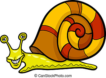snail mollusk cartoon illustration - Cartoon Illustration of...
