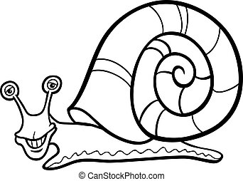 snail mollusk cartoon for coloring book - Black and White...