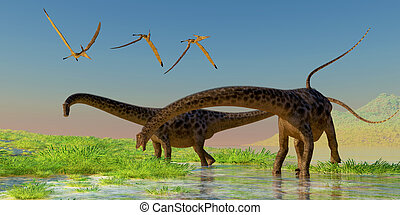 Diplodocus Feeding - A flock of Pterosaur birds fly over two...