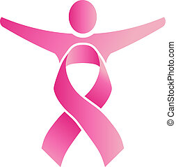 People Ribbon Pink - People body formed by pink ribbon