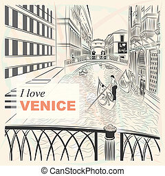 vector sketch of a landscape the Bridge of Sighs in Venice -...
