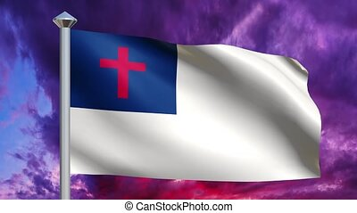 Christian Flag and Dramatic Sky Loop - Seamless loop with a...