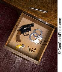 escrivaninha, Gaveta, cheio, próprio, Defesa, itens, arma