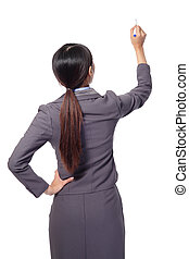 business woman standing to the back side and holding a pen...