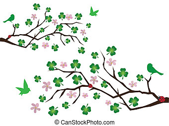 clover branches - vector branches with clover leaves