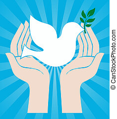 peace sign of hands holding dove - peace sign of human hands...