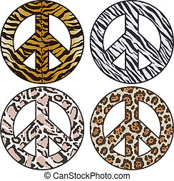 peace sign in animal skin pattern