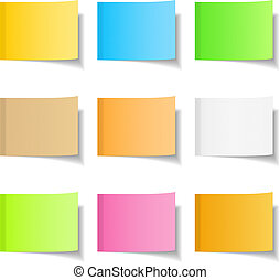 Sticky Notes - Sticky notes, nine different colors, vector...