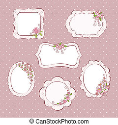 Set of vintage frames with flowers