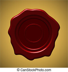 Red wax seal on gold gradient background, vector...