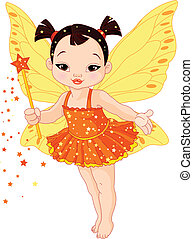 Cute Asian baby fairy - Illustration of Cute little Asian...
