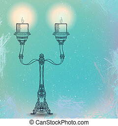 vector candlestick with two stems