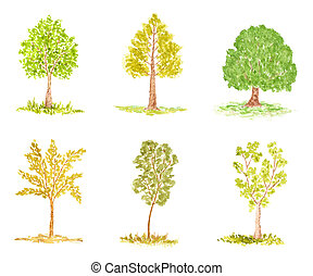 Set of Watercolor Trees - Set of Trees, Watercolor Hand...
