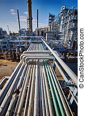 aceite, gas, refinería, total, vista