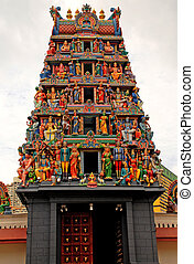 Hindu temple(Singapore) - Multicolored hinduism statues on...