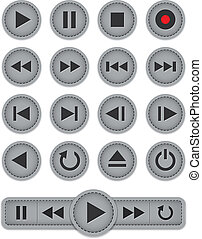 Media player icons. Leather templates. Vector illustration