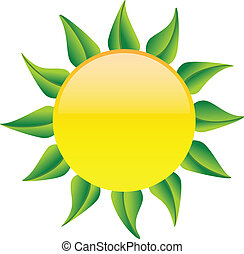 Sun with green leaves